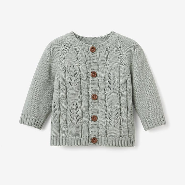 Elegant Baby Leaf Pointelle Cardigan in Sage