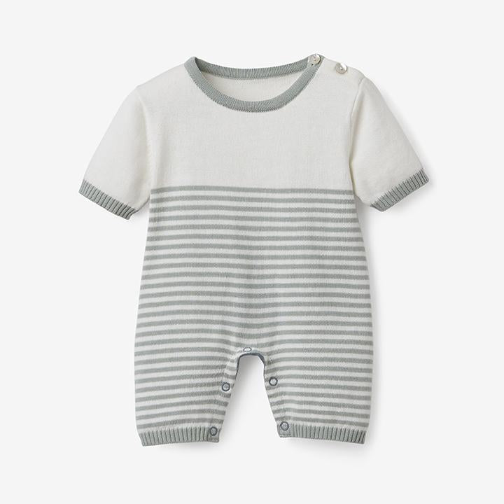 Elegant Baby Mini Stripe Shortall in Sage