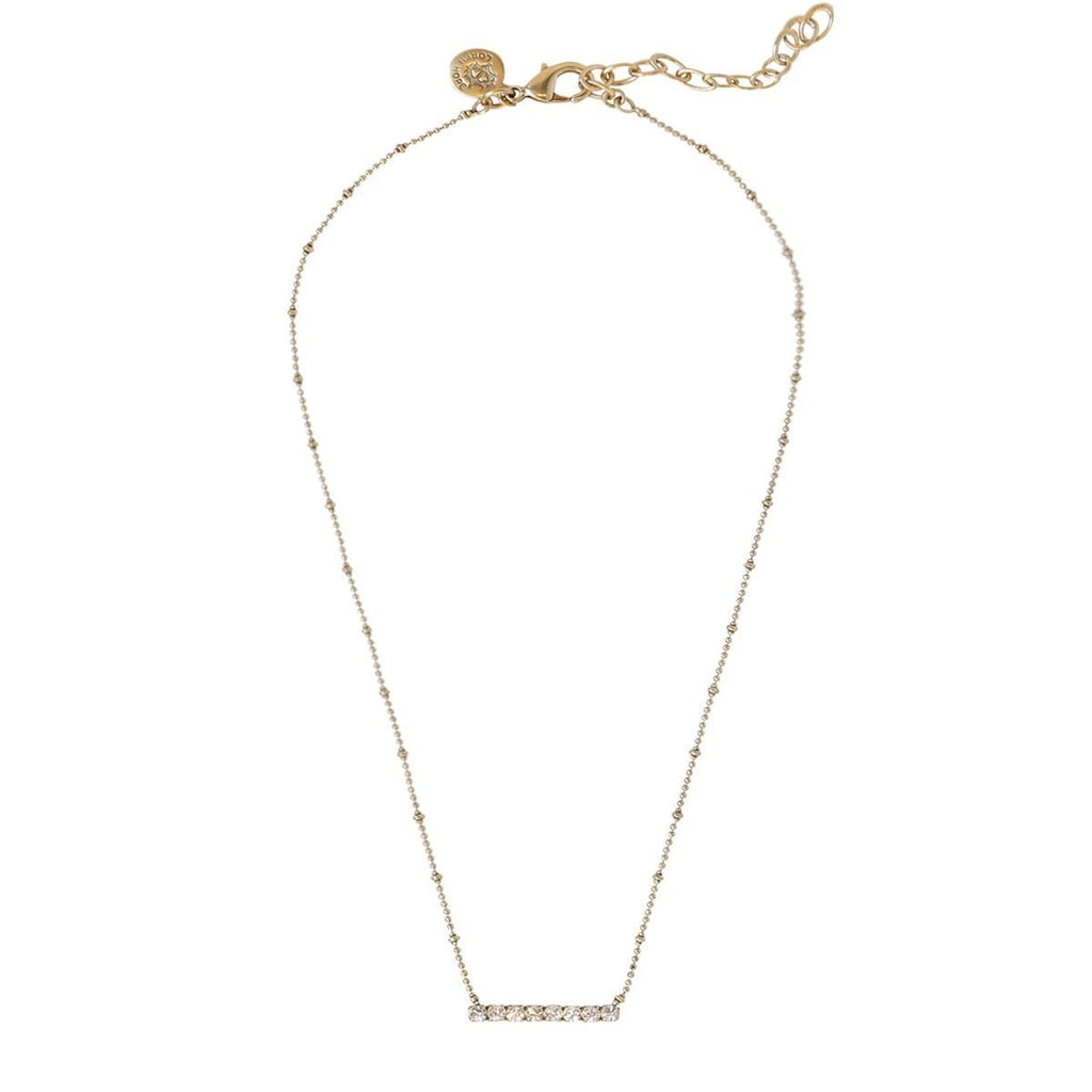 Loren Hope Paige Bar Necklace in Crystal/Gold