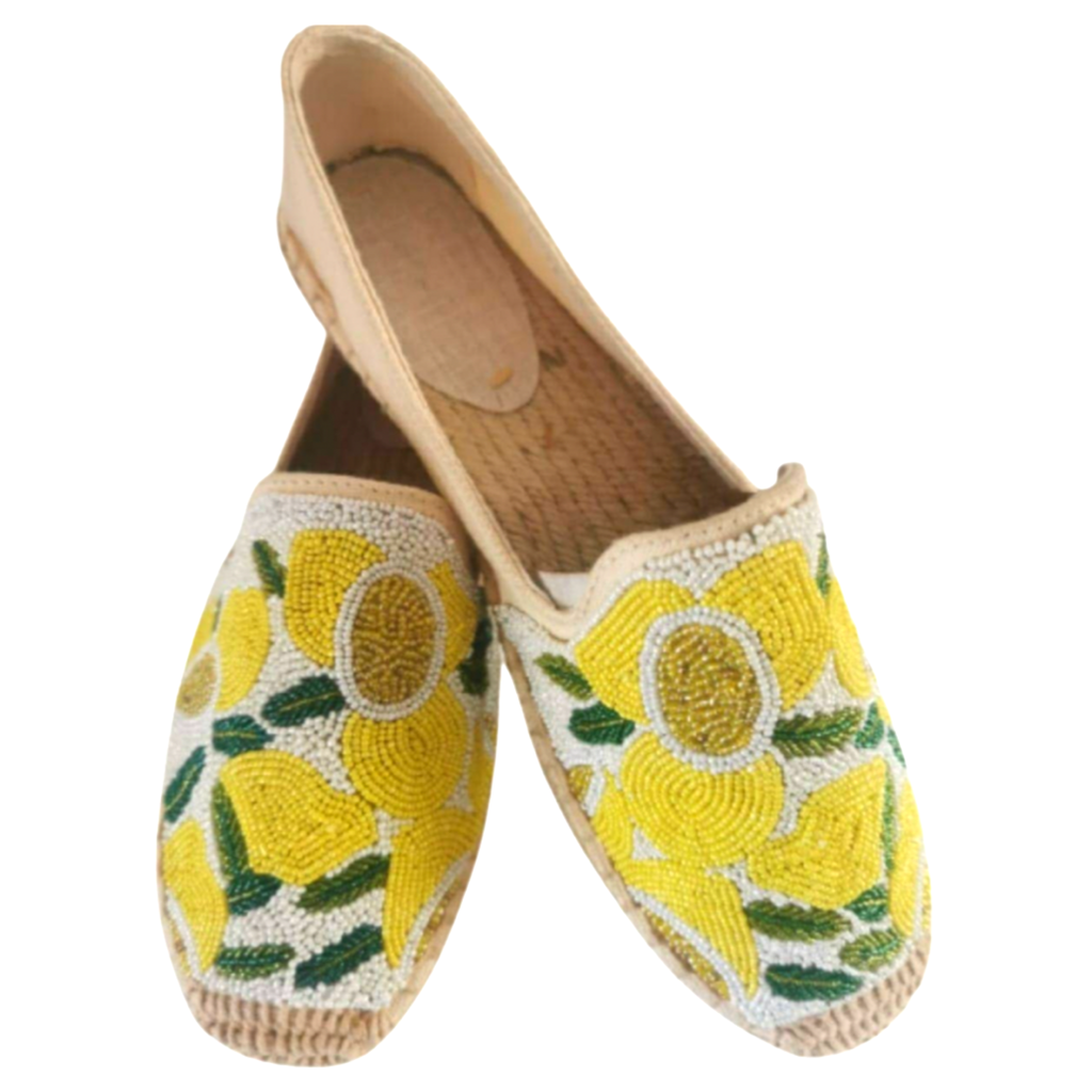 Tiana Beaded Lemon Espadrilles