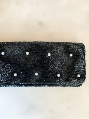 Tiana Black Foldover Clutch with Pearls