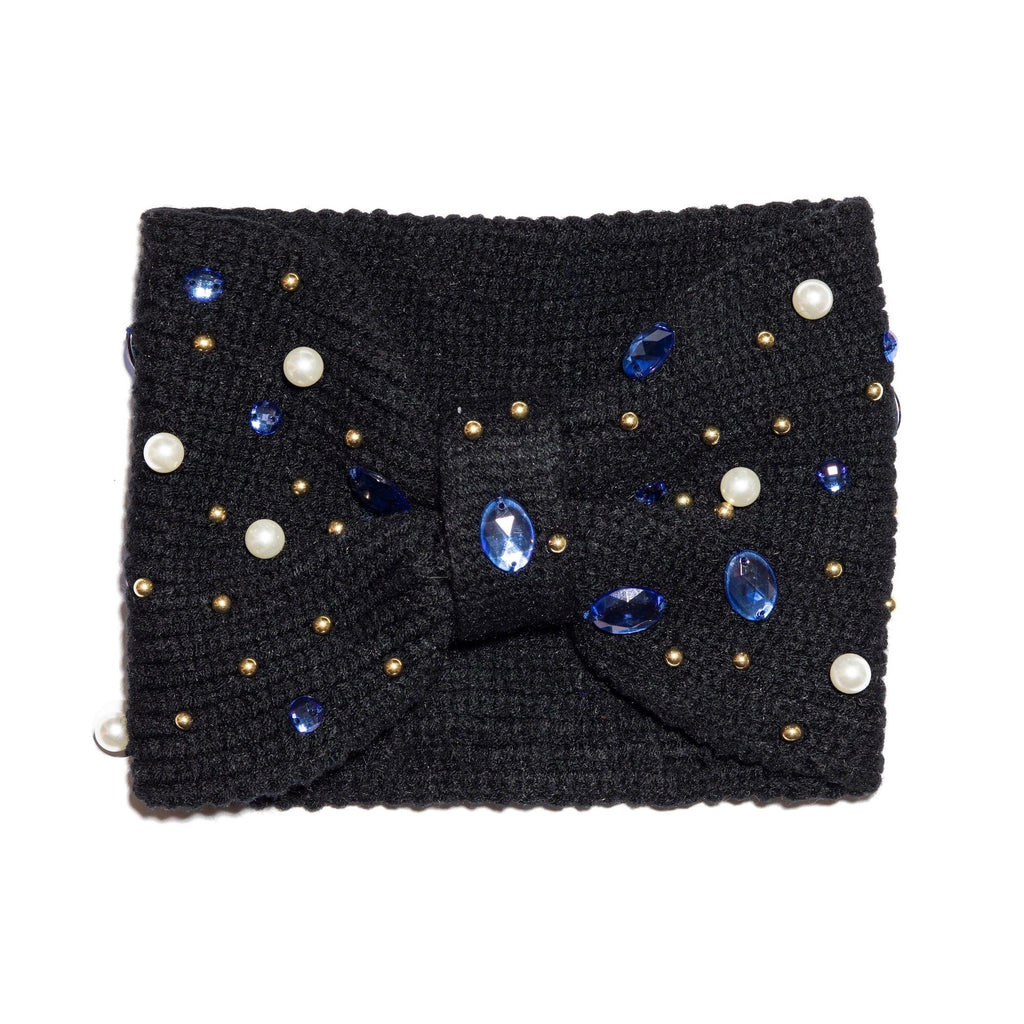 Lele Sadoughi Pearl and Crystal Ear Warmer in Jet