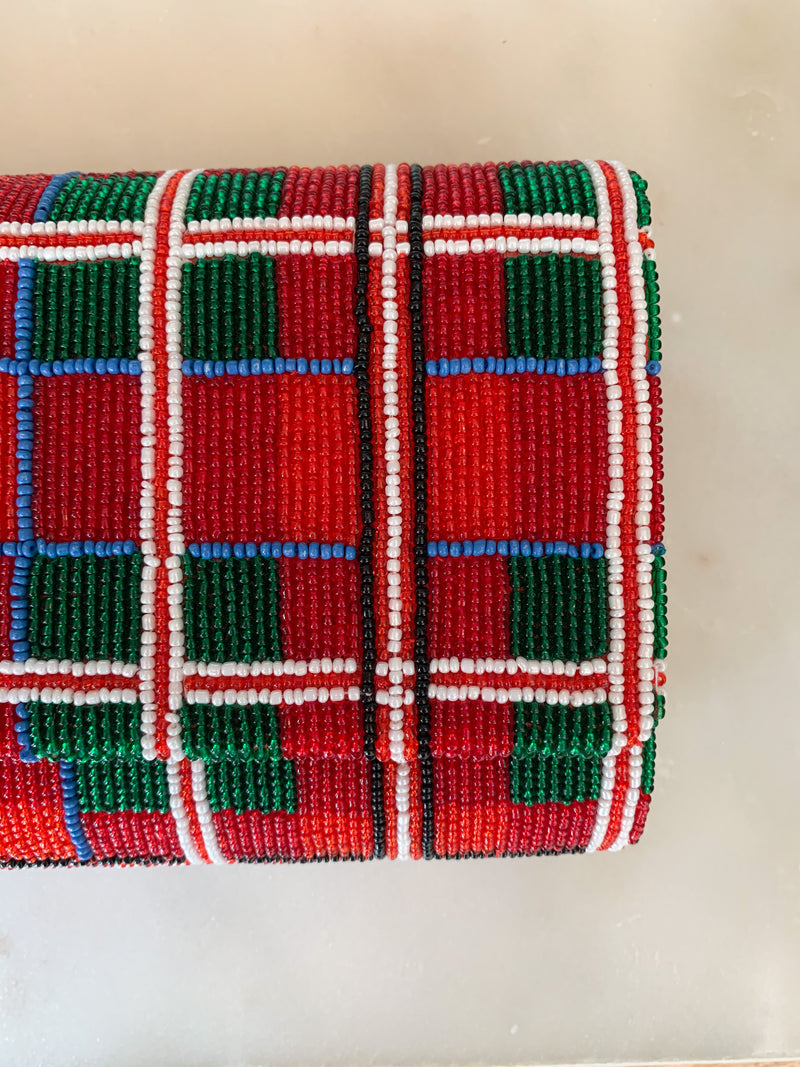 Tiana Beaded Clutch in Red Plaid