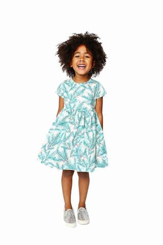 Smiling Button Evergreen Sunday Dress