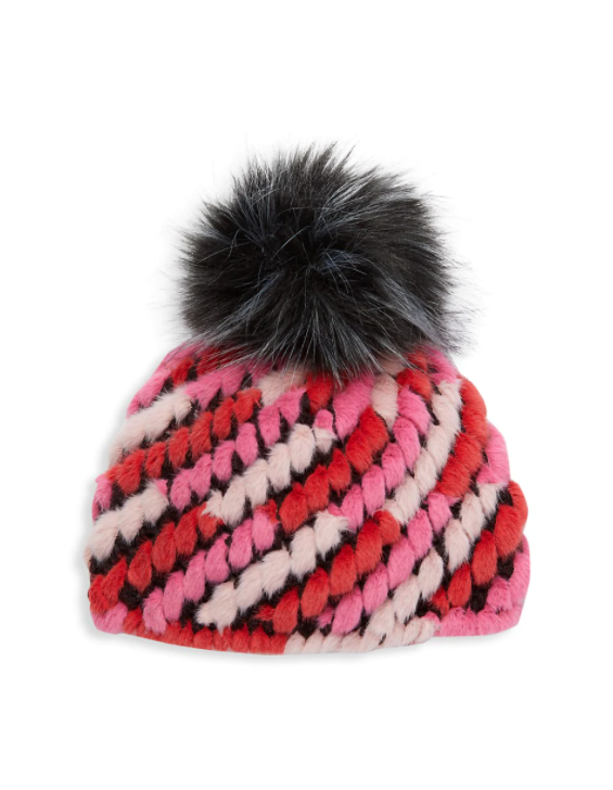 Jocelyn Kids Knitted Faux Fur Crosby Pineapple Hat in Pink Multi