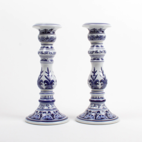 8 Oak Lane 2PC Large Candlestick Set in Blue/White