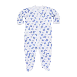 Roller Rabbit Moby Footie in White/Blue