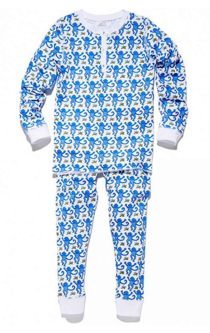 Roller Rabbit Monkey Pajamas in Blue