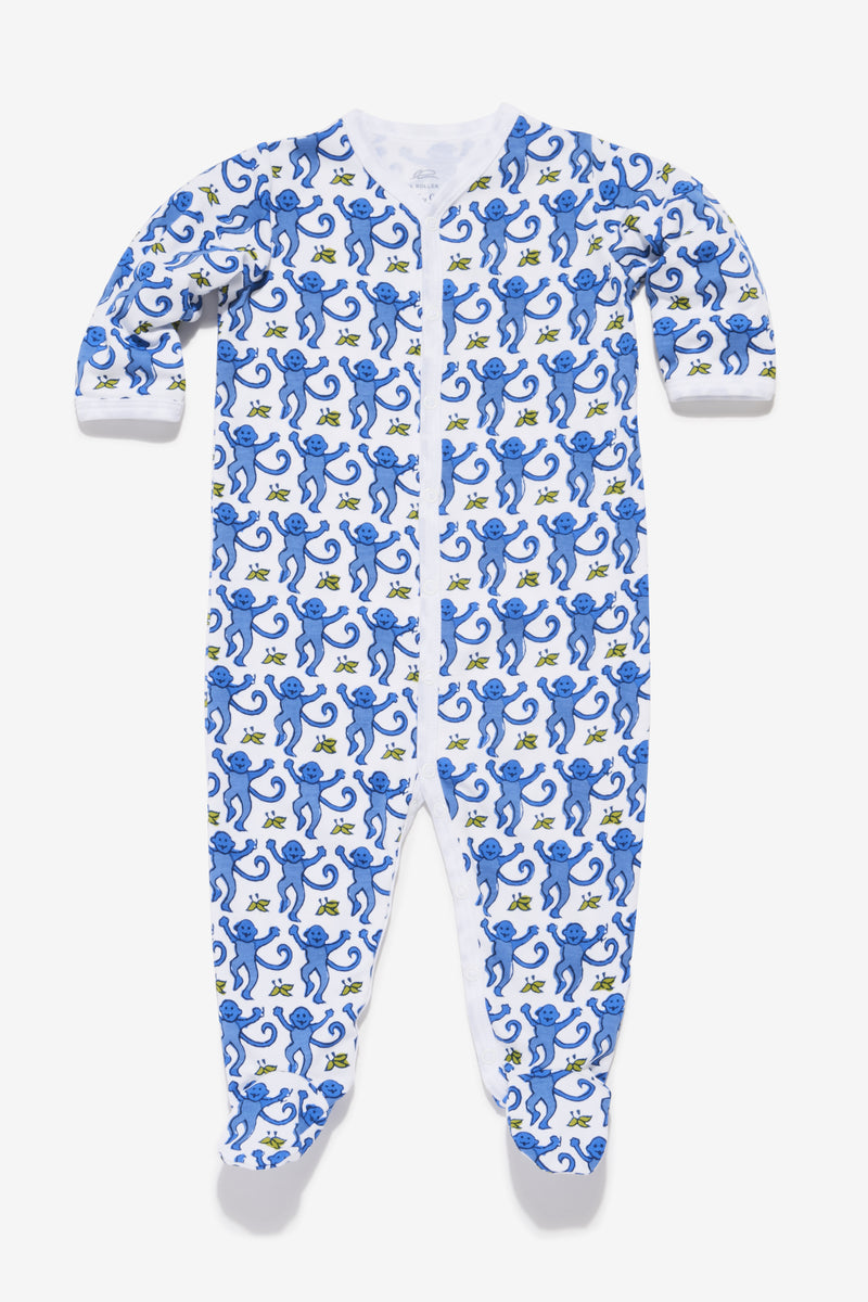 Roller Rabbit Monkey Footie in Blue