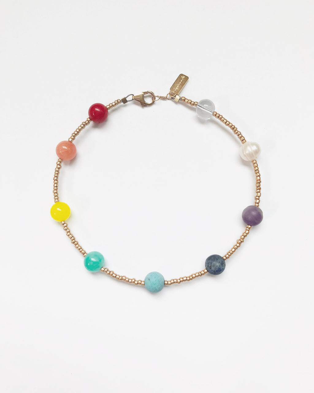 Aquinnah Rainbow Chakra Anklet in Gold