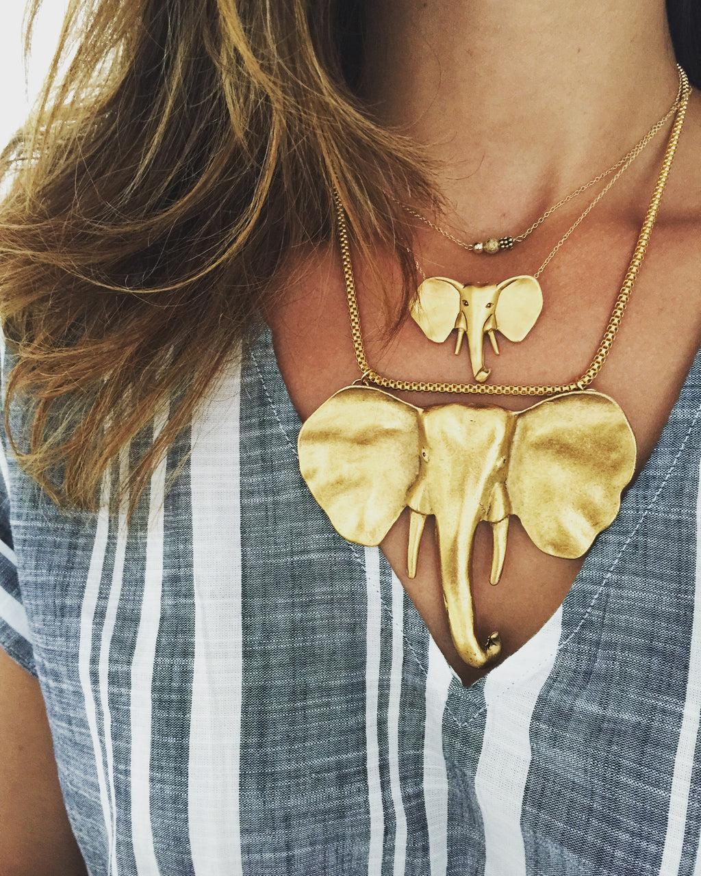 Aquinnah Mama Elephant Necklace in Gold