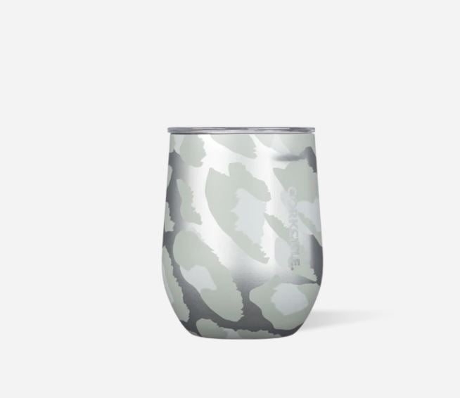 Corkcicle Stemless Wine Glass in Snow Leopard