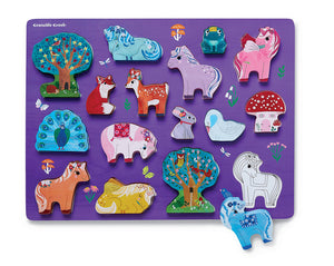 Crocodile Creek Let's Play! 16 Piece Unicorn Garden Wooden Puzzle