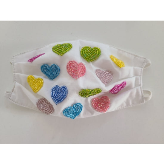 Tiana Kids Hand Beaded Multi Hearts Mask in White