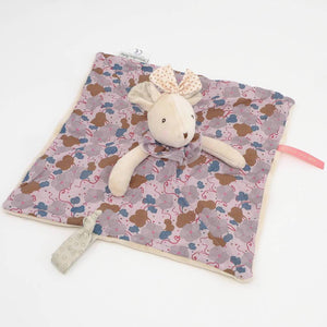 Moulin Roty Pink Flowers Mouse Lovey Toy