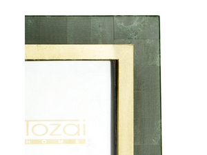 Two's Company Aventurine Photo Frame in Green/Gold