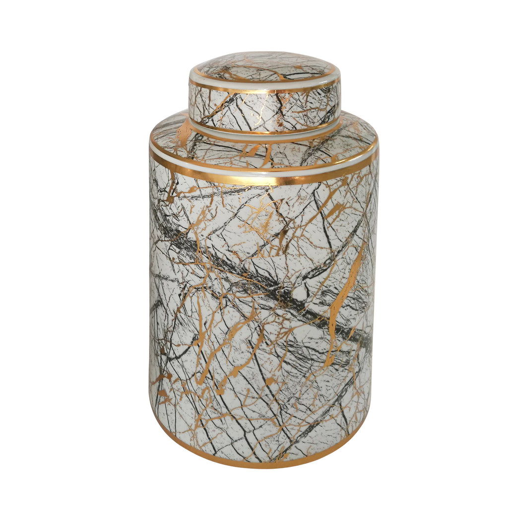 Sagebrook Home Ceramic Gold Jar