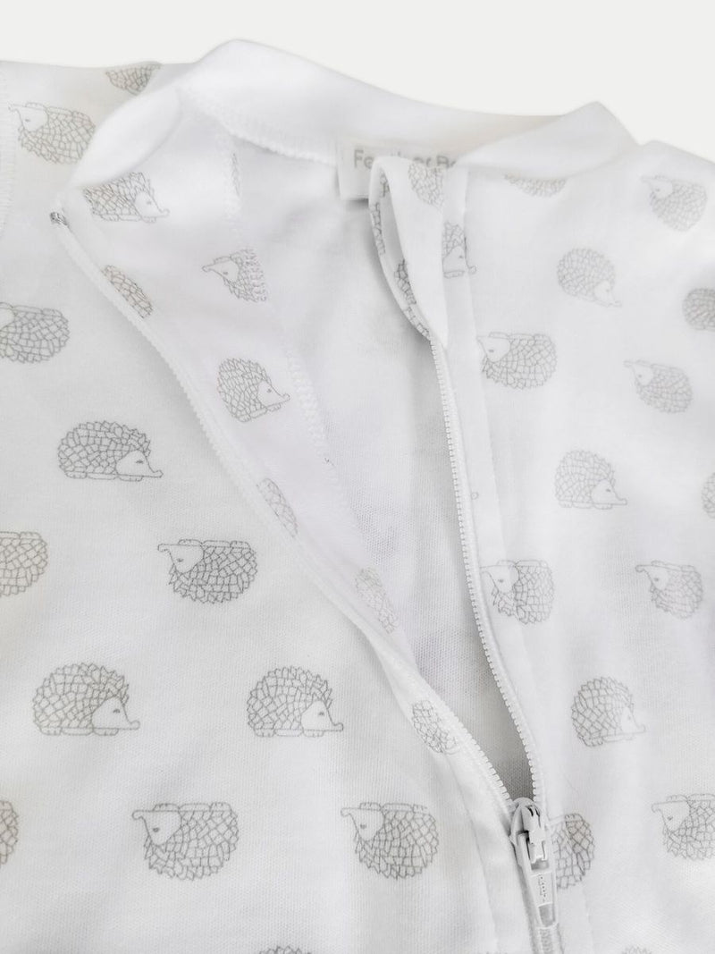 Feather Baby Hedgehog Zipper Footie in White