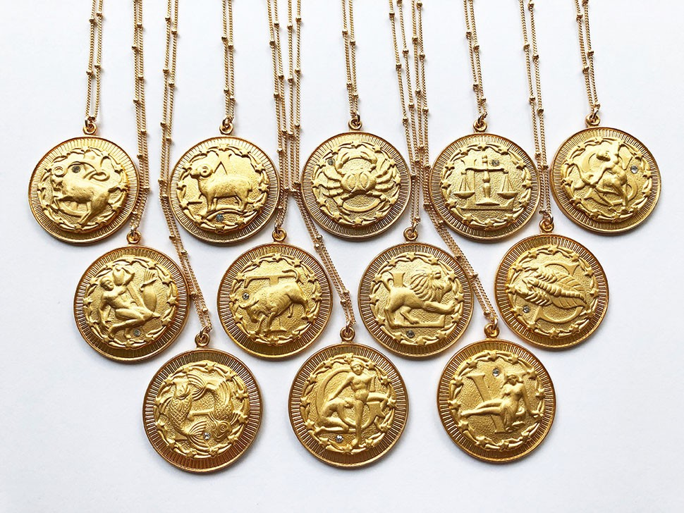 Aquinnah Jewelry Vintage Zodiac Coin Necklace in Gold