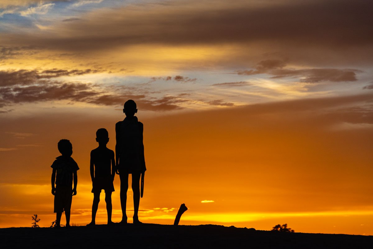 Boys at Sunset - Omo Valley