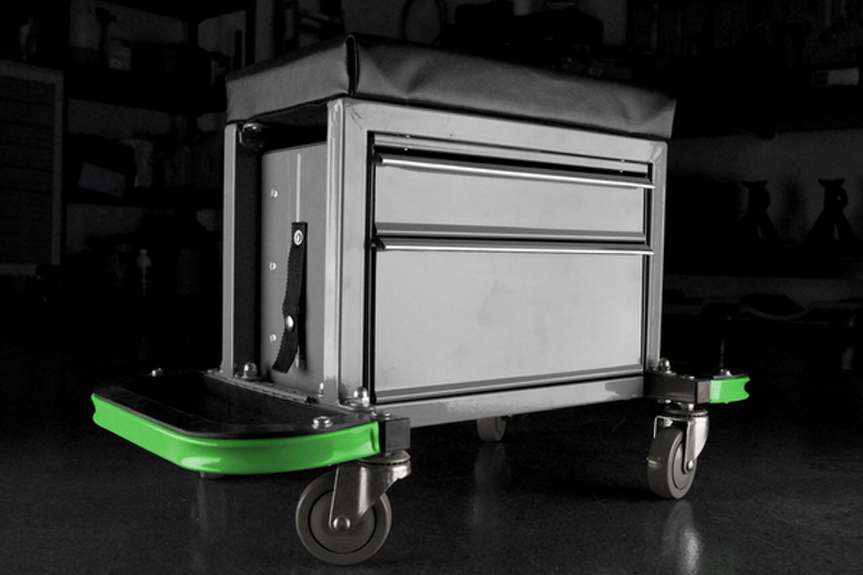Toolbox and Rolling Stool Is The Perfect Garage Sidekick