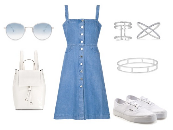 Fashionest Classic Denim and White Outfit Idea for Back to School
