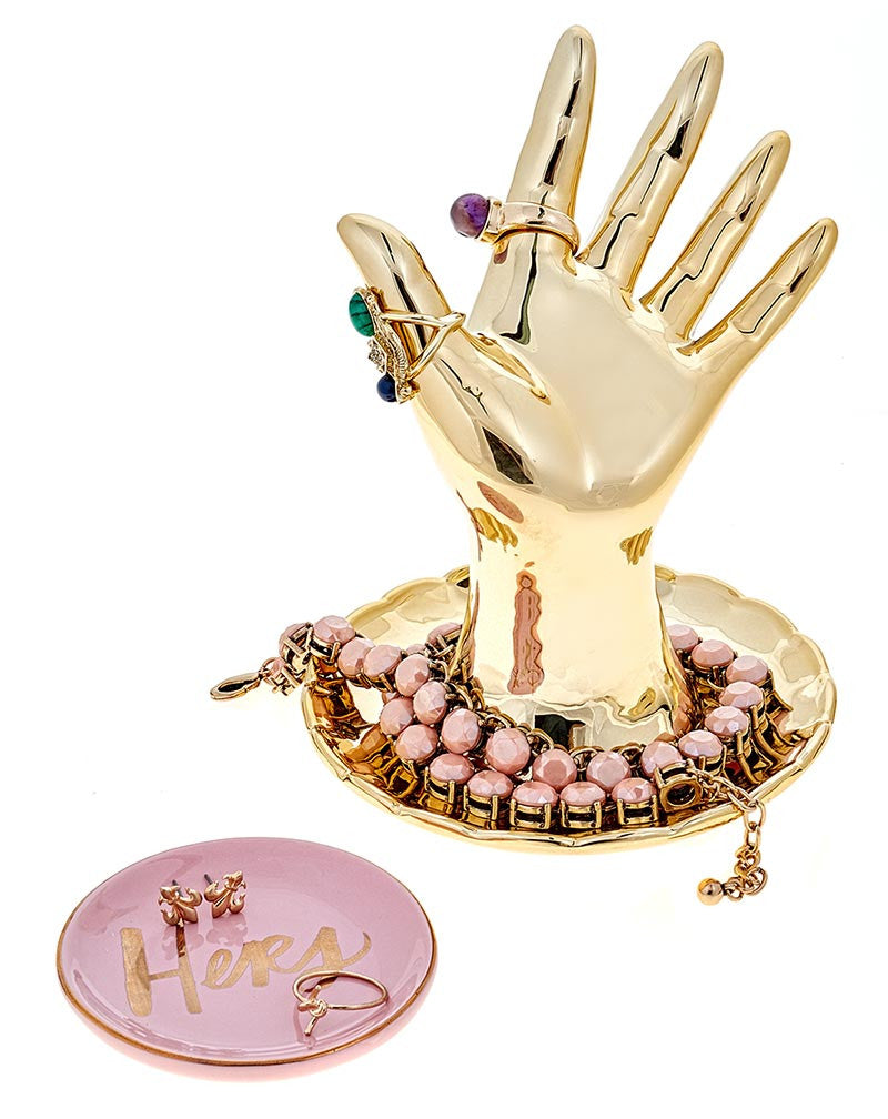 Fashionest | Fashionest Gold Hand Ring Holder and Jewelry Dish