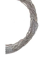 Fashionest Label Venezia Beaded Necklace in Silver