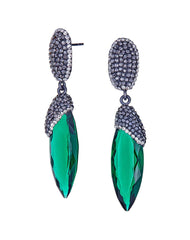 Grand Bazaar Vita Crystal Earrings in Green