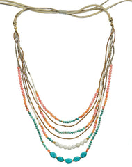 Alexa Beaded Necklace in Blue