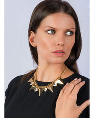 Fashionest Label Contoured Triangle Studded Necklace