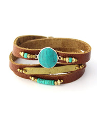 Nakamol Boho Gem Wrap Bracelet in Green