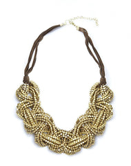 Knotted Seed Bead Necklace in Gold