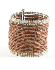 Nakamol Seed Bead Cuff Bracelet in Brown