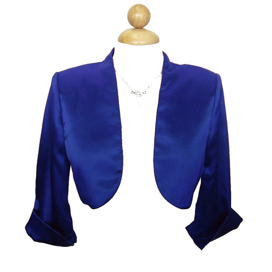 Mid Length Sleeve Royal Blue Satin Bolero Jacket Shrug