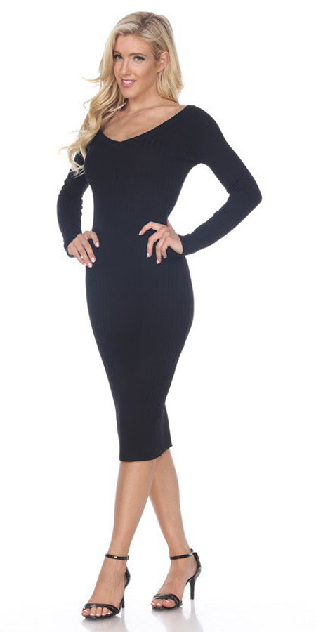 Fitted Tea-Length Casual Dress with Long Sleeves Black