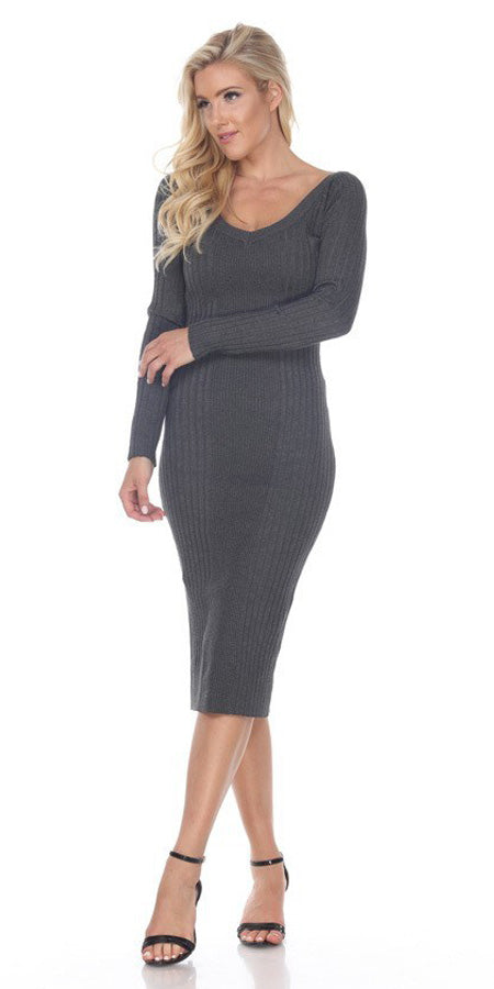 Fitted Tea-Length Casual Dress with Long Sleeves Charcoal