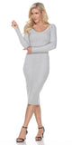 Fitted Tea-Length Casual Dress with Long Sleeves Gray