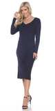 Fitted Tea-Length Casual Dress with Long Sleeves Navy Blue