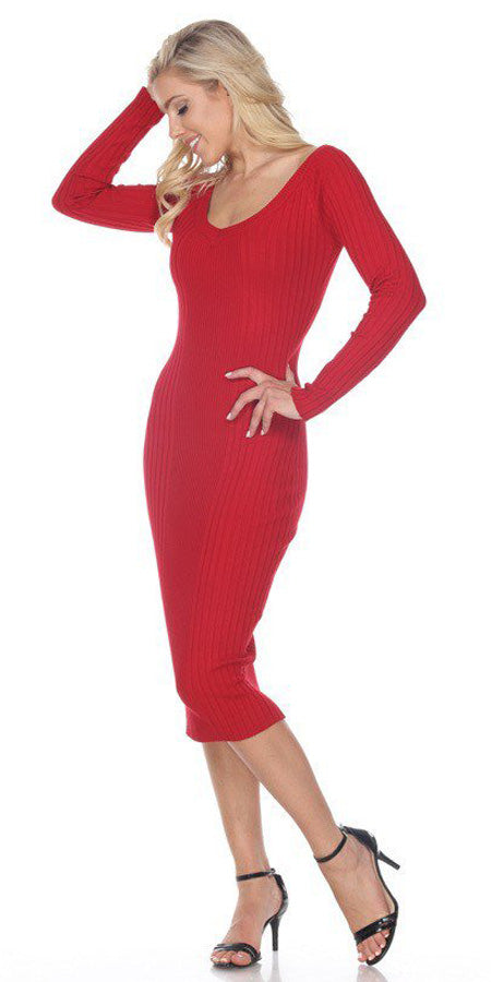 Fitted Tea-Length Casual Dress with Long Sleeves Red