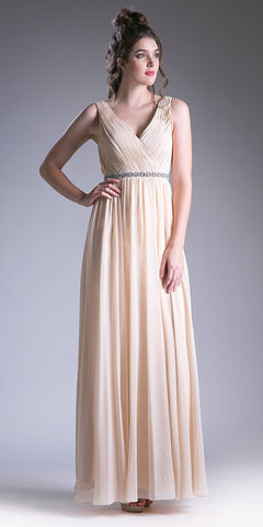 Ruched V-Neck Embellished Waist A-line Long Formal Dress Champagne