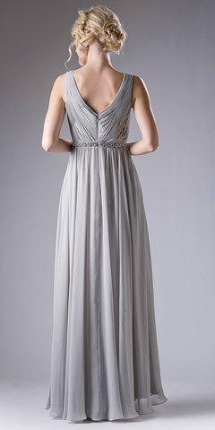Ruched V-Neck Embellished Waist A-line Long Formal Dress Silver