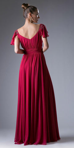Burgundy Beaded Flutter Sleeves Floor Length Formal Dress V-Neck