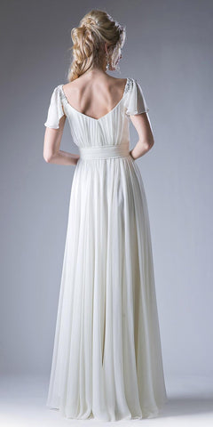 Ivory Beaded Flutter Sleeves Floor Length Formal Dress V-Neck