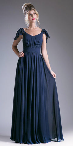 Navy Blue Beaded Flutter Sleeves Floor Length Formal Dress V-Neck