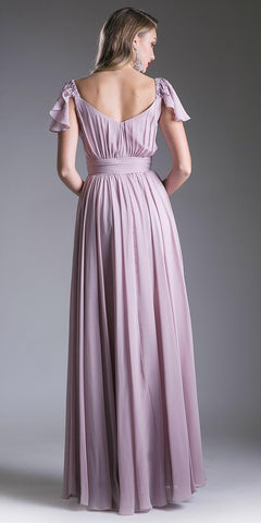 Rose Beaded Flutter Sleeves Floor Length Formal Dress V-Neck
