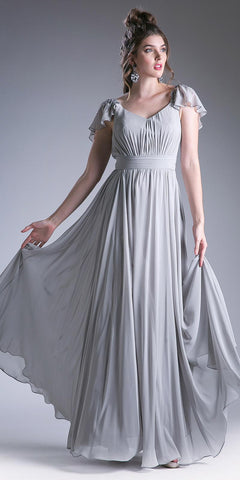 Silver Beaded Flutter Sleeves Floor Length Formal Dress V-Neck