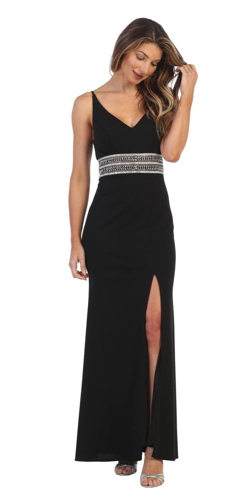 V-Neck and Back Embellished Long Formal Dress Black