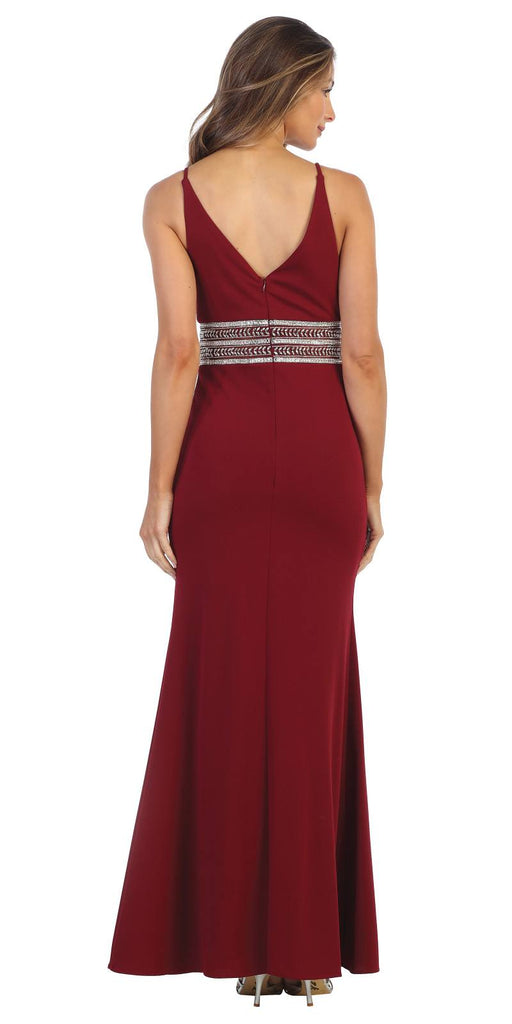 V-Neck and Back Embellished Long Formal Dress Burgundy