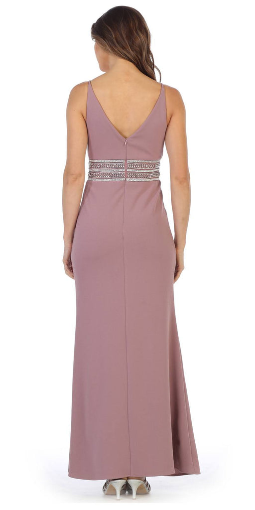 V-Neck and Back Embellished Long Formal Dress Mauve